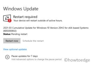 KB5000802 – March 2021 Security Update Windows 10 20H2 & 20H1