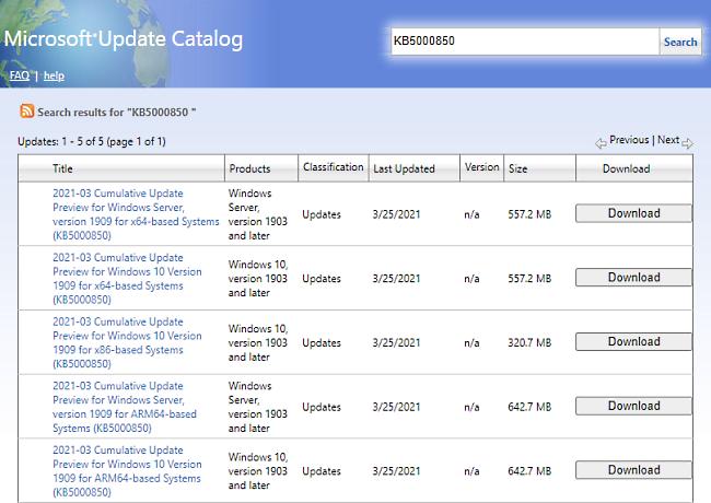 KB5000850 Update Windows 10 OS 1909 Build 18363.1474