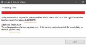 System Image Backup Error 0x807800A1, 0x800423F3