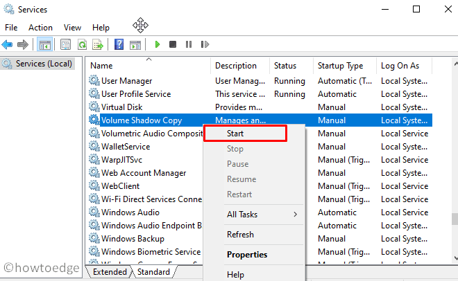 Restart Volume Shadow Copy service