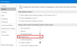 print hidden text in MS Word - display hidden section
