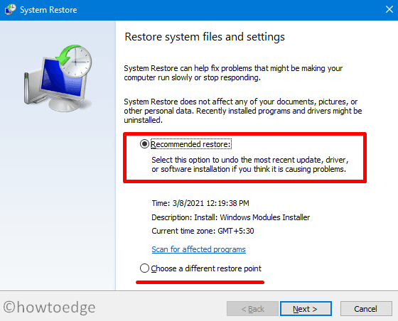 recover deleted User Profile in Windows 10 - restore point
