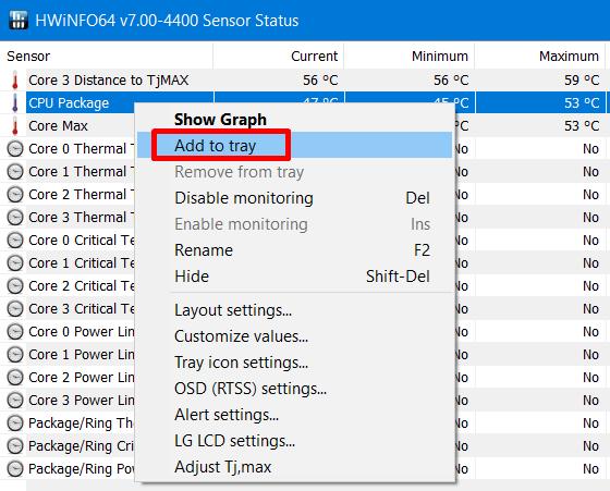 see CPU and GPU temperatures - modify CPU package