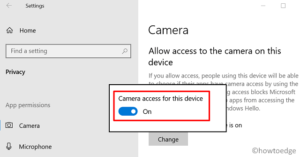Enable or Disable Camera (Webcam) - Settings