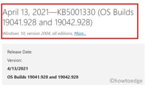 KB5001330 Windows 10 2004, 20H2