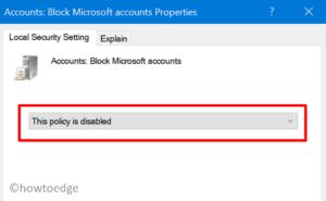 Microsoft Account Login Error 0x8000704ec - Disable Policy