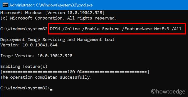 .NET Framework Error 0x800F080C - Use DISM
