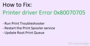 Printer driver Error 0x80070705