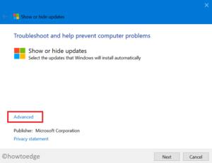 Windows 10 Update Error Code 0x800f024b - Advanced options