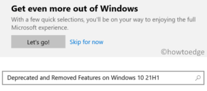 Deprecated and Removed Features on Windows 10 21H1