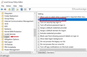 Fix Hello PIN Error 0x80090011 - Modify GPE