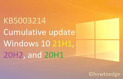 KB5003214 Cumulative update