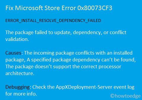 Microsoft Store Error 0x80073CF3