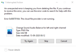 OneDrive Error 0x8007016A - The cloud file provider is not running