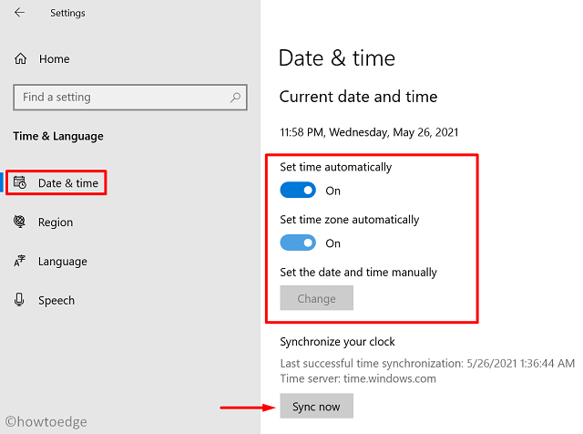 Sync Now - Date & Time