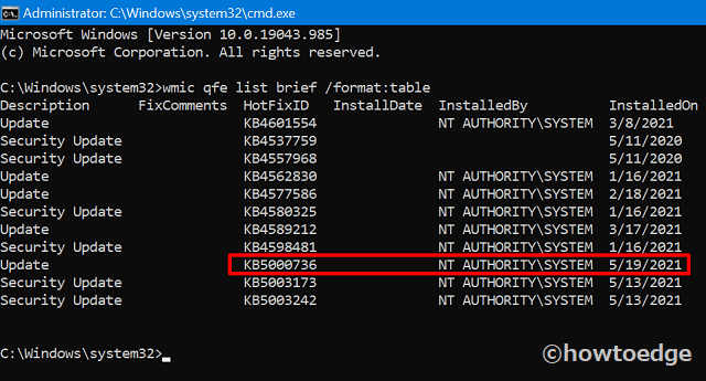 Uninstall Windows 10 21H1 via Command Prompt