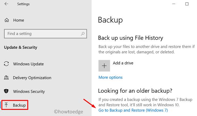 create a full backup of files and folders - Settings