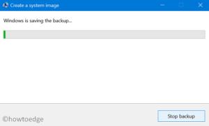 create a full backup of files and folders - Windows starts saving the backup