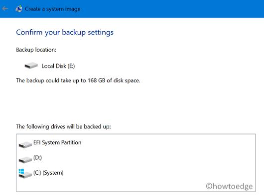 create a full backup of files and folders - confirm backup settings