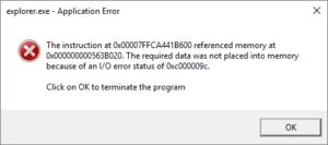 Application IO Error 0xc000009c