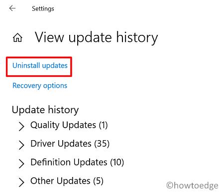 Check Windows Update history on Windows 10 via Settings
