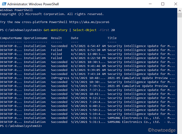Use PSWindowsUpdate Module to View installed updates