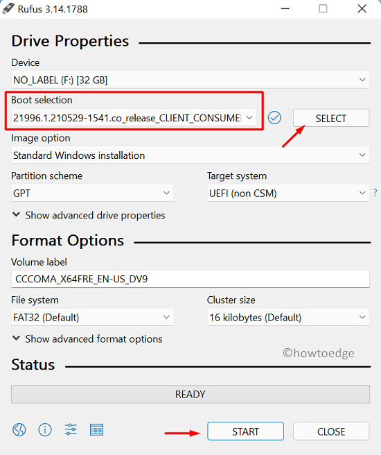 Create Windows 11 Bootable Media using Rufus