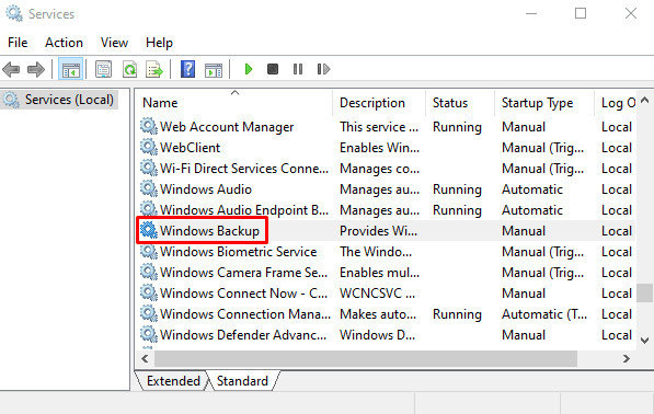 Enable Windows Backup Services