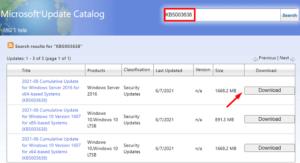 KB5003638 Windows 10 1607