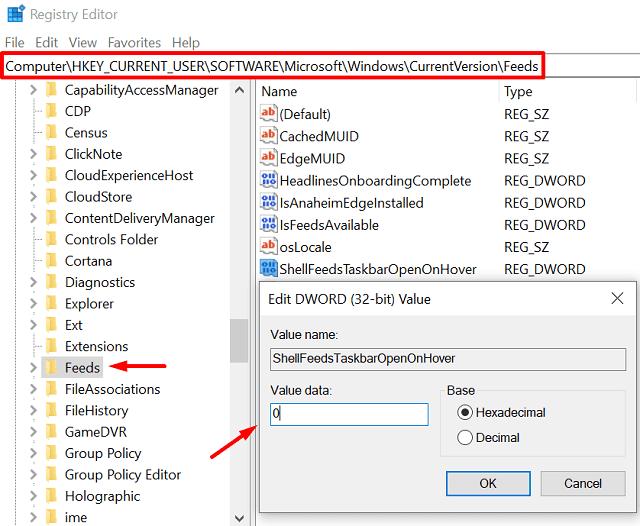 Modify the registry