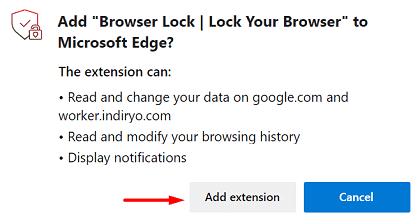 Password Protect Microsoft Edge - Add to Edge