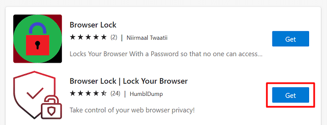 Password Protect Microsoft Edge - Install Extension