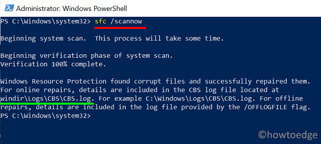 SFC using PowerShell