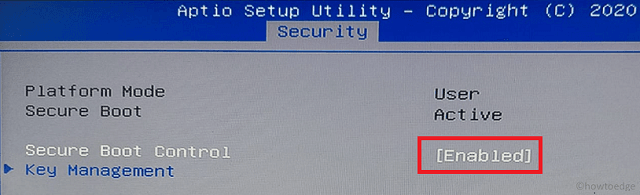 Secure Boot Control