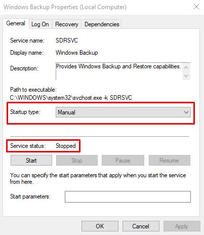 Turn on Windows Backup Services