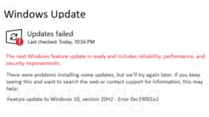Update Error 0xc19001e2 in Windows 10