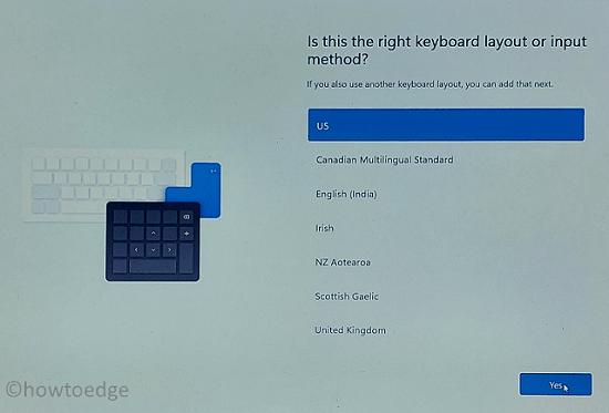 Windows 11 OOBE - Keyboard Setup