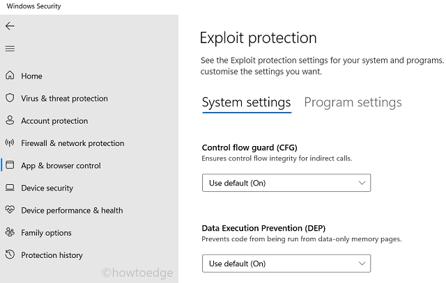 Apps and browser - System settings