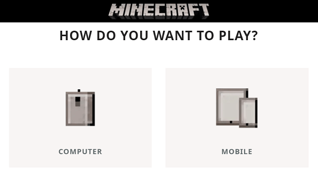 Choose OS to download Minecraft