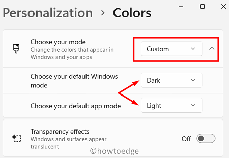 Custom Change Color