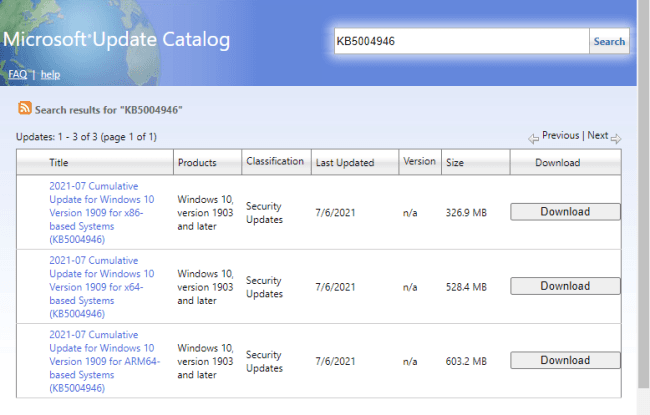 KB5004946 Fixes PrintNightmare problem on Windows 10 1909 and 1903