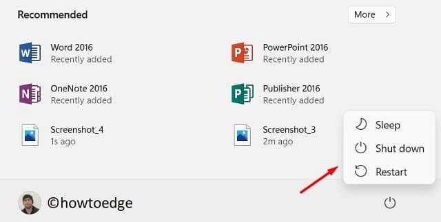 Shut down or Restart Windows 11 - Power Button