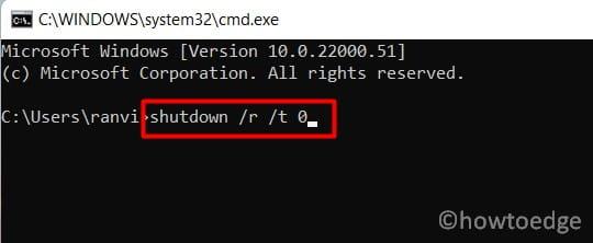 Shut down or Restart Windows 11 - via CMD
