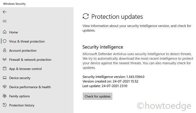 Windows Security - Protection Updates