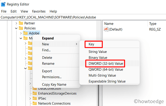 create a new registry entry - On the Folder Itself
