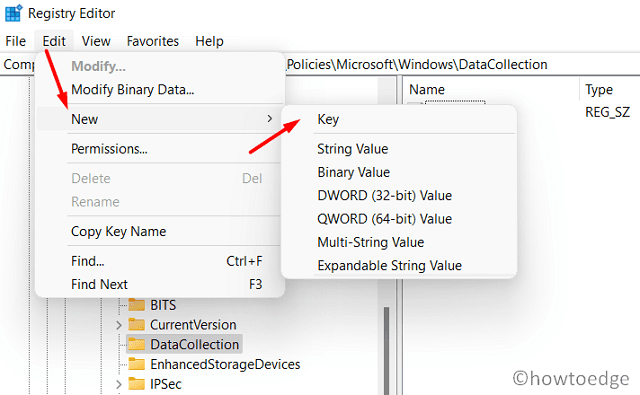 create a new registry entry - Using Edit