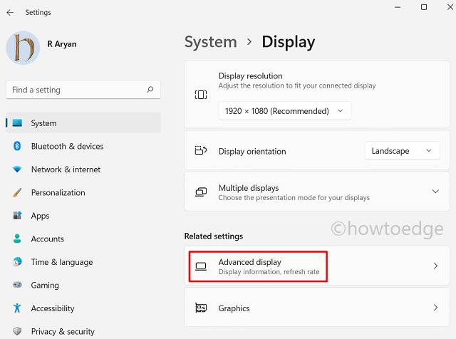 Advanced display setting