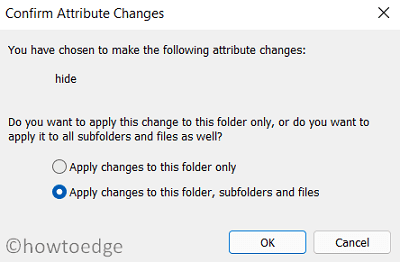 Confirm Attribute Changes