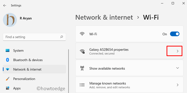 Assign a Static IP Address in Windows - Select WiFi Properties