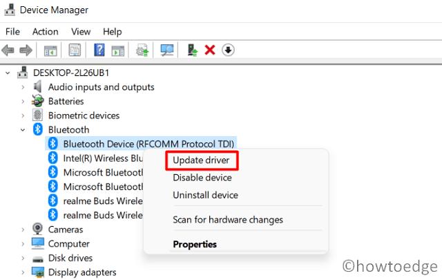 Bluetooth Not working in Windows 11 - Update Bluetooth driver